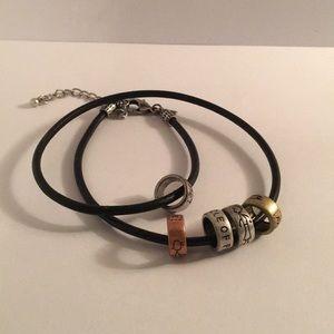 Jewelry - Black wrap bracelet with five charms